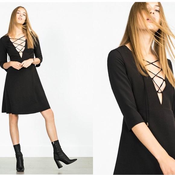 3f4fb920 Zara Dresses | Lace Up Black Skater Dress Size Small | Poshmark